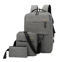 三件套USB双肩包 情侣休闲背包旅行包学院风学生书包BLH083