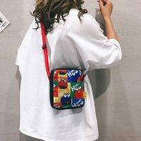 新款日系学生搞怪丑萌卡通个性芝麻街帆布斜挎包FXB2268