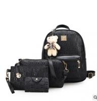 2016新款品牌女包卡通小熊时尚四件套双肩包女式多功能子母背包