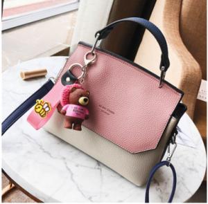 2017韩版新款时尚潮流撞色小方包可爱小熊挂件手提单肩斜跨包HC5023